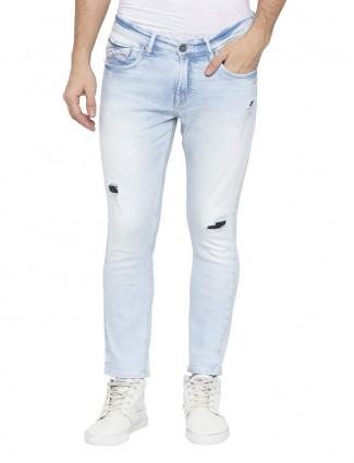 Spykar washed sky blue slim fit jeans
