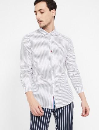 Spykar white casual stripe shirt