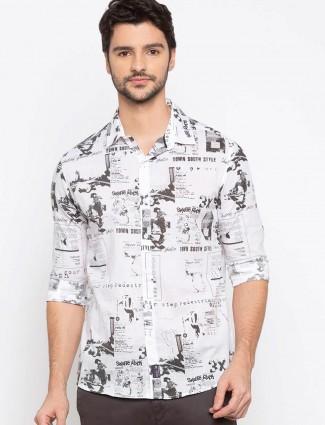 Spykar white printed mens casual shirt