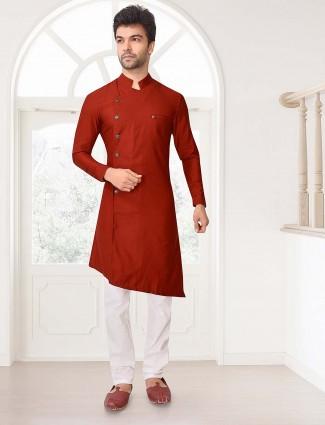 Stand collar pattern rust orange kurta suit