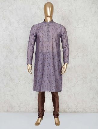 Stand collar purple cotton printed kurta suit