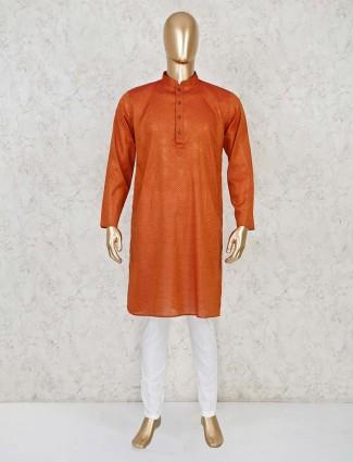 Stand collar rust orange cotton kurta suit