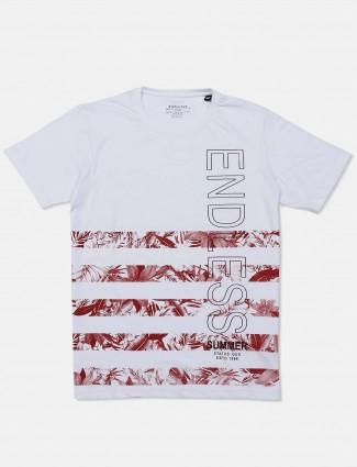 Status Quo round neck white printed t-shirt
