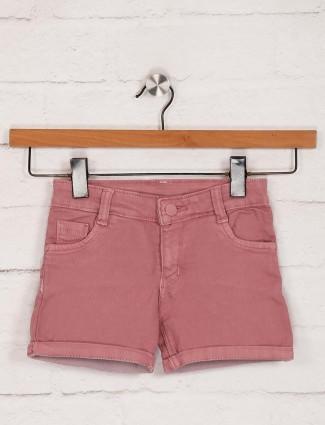 Stilomoda dusty pink denim solid shorts