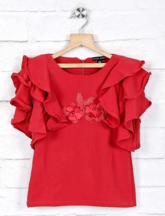 Stilomoda latest applique work red cotton top