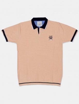 Stride cream solid casual wear t-shirt