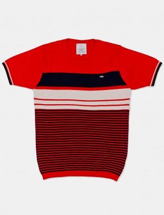 Stride round neck red stripe t-shirt