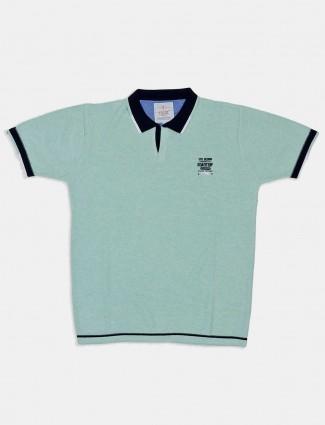 Stride solid sea green half sleeves t-shirt