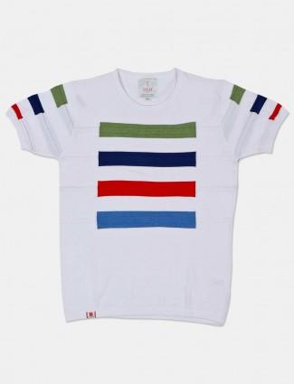 Stride white printed slim fit t-shirt