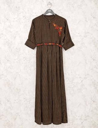 Stripe brown cotton kurti for casual