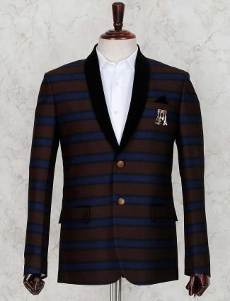 Stripe brown hue party wear blazer