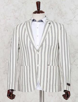 Stripe cream terry rayon fabric blazer