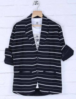 Stripe navy hued cotton blazer