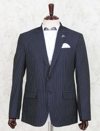 Stripe navy hued terry rayon fabric blazer