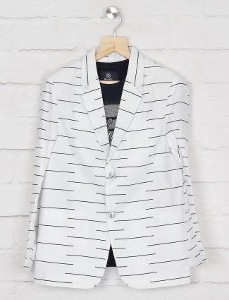 Stripe off white terry rayon blazer
