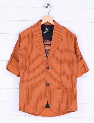 Stripe orange color cotton fabric blazer