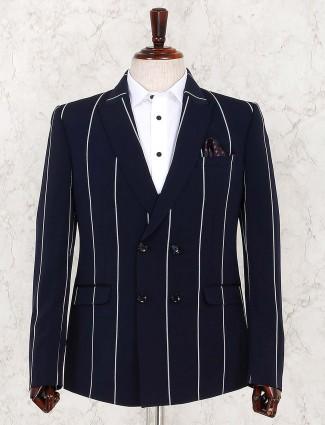 Stripe pattern navy hue terry rayon blazer