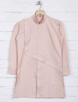 Stripe pattern peach hue cotton kurta suit