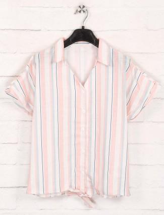 Stripe pink cotton collar neck top