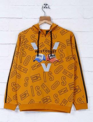 Sturd casual mustard yellow printed t-shirt