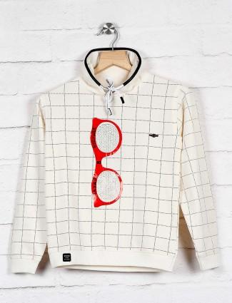 Sturd checks cream casual wear sweatshirt