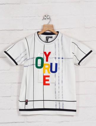 Sturd cotton printed t-shirt in white
