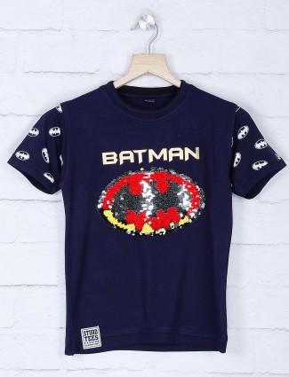 Sturd navy printed cotton t-shirt