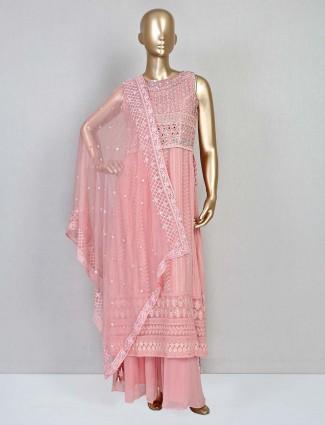 Stylish pink punjabi palazzo suit in georgette