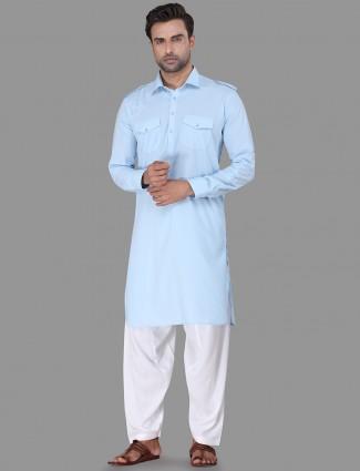 Stylish sky blue pathani suit