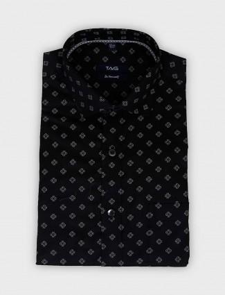 TAG black printed slim fit cotton shirt