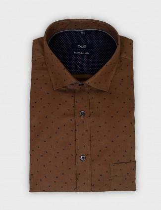 TAG brown full sleeves printed shirt