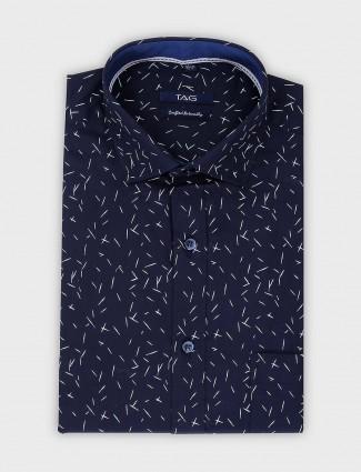 TAG navy printed slim fit cut away collar shirt