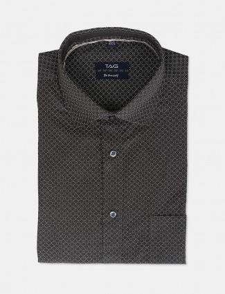 TAG olive printed cut away collar shirt