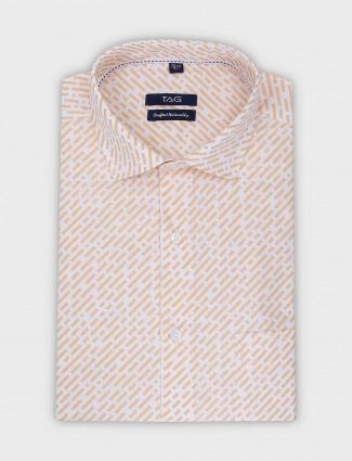 TAG peach printed cotton fabric shirt