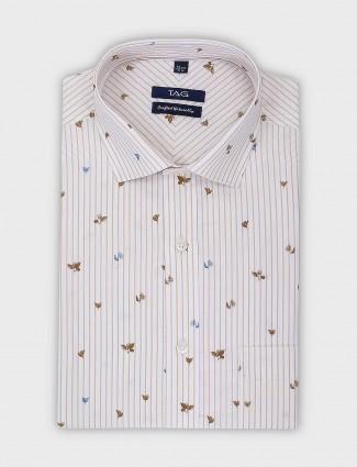 TAG printed and stripe pattern formal shirt