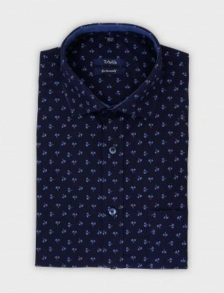 TAG printed navy formal wear shirt