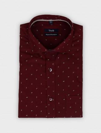 TAG wine maroon printed pattern shirt
