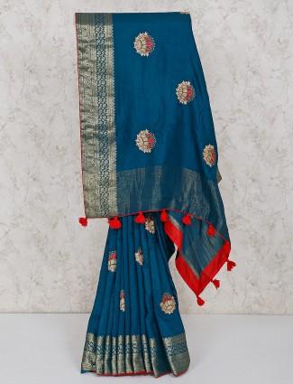 Teal blue festive semi silk saree