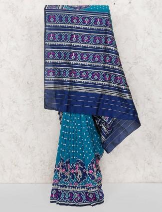 Teal blue patola silk saree