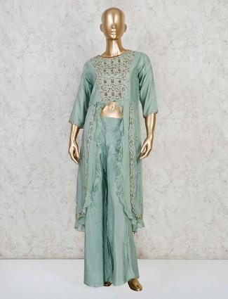 Teal greem cotton silk festive palazzo suit