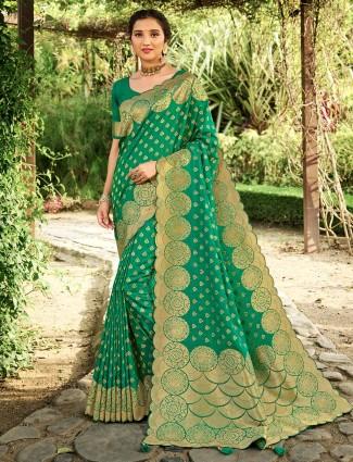 Teal green banarasi silk for wedding days