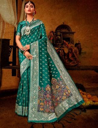 Teal green banarasi silk wedding saree