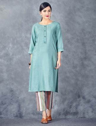 Teal green casual wear cotton fabric kurti set