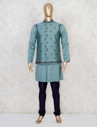 Teal green party wear raw silk waistcoat set