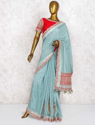 Teal green wedding cotton silk saree