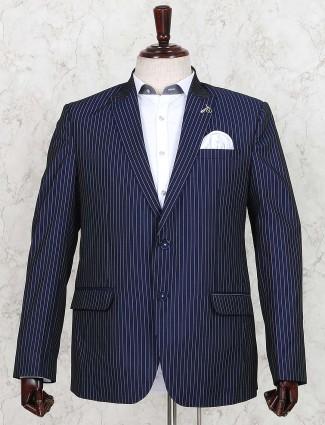 Terry rayon dark navy stripe blazer