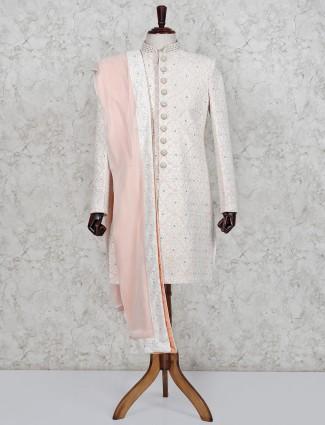 Terry rayon designer cream wedding indo western
