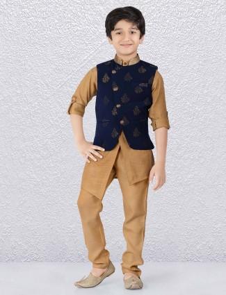 Terry rayon fabric navy and khaki hue waistcoat set