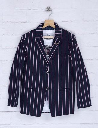 Terry rayon fabric navy stripe blazer