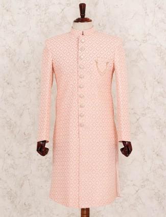 Terry rayon fabric pink wedding indo western
